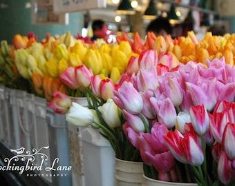 Digital Photograph - Tulips at Pike's Place Market, Seattle, Washington