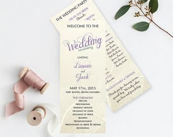 "Wedding Programs, Double Sided 5"" x 7"" or 4"" x 9"" (Style 13174)"