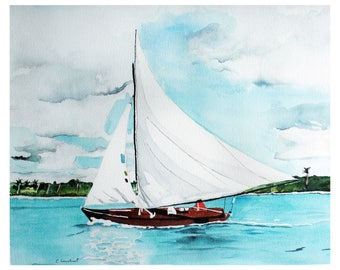 Beach artwork, watercolor painting, print, Sailboat painting, nautical artwork, ocean watercolor, blue artwork, boat art