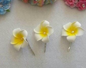 3 Wedding Bridal Bridesmaid plumeria Hair Pins, Hairpins, Hair Accessories. Fast from USA