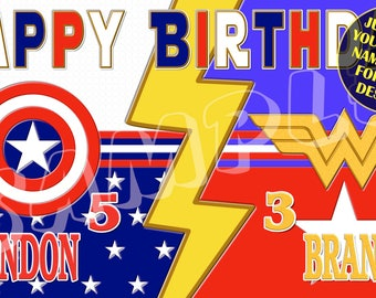 Captain America, Wonderwoman, Fourth of July Celebration, red, white, blue, Personalized Birthday Banner - email your child's name and age