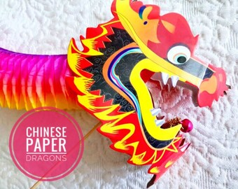 Chinese Paper Dragon• Chinese New Year• Paper Dragon • Tissue Paper • Concertina• Folding Paper• New Year Party•Dragon on sticks