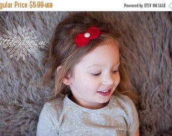 SALE Chic Red Shabby Chiffon Fabric Bow Skinny Elastic Headband with Rhinestone Center - Newborn Baby Toddler Girl Adult - Photo Prop