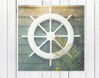 Ship Wheel Nautical Decor Print | Coastal Decor Beach | Coastal Wall Art | Captains Wheel | Nautical Wall Decor | Rustic Nautical Decor Art