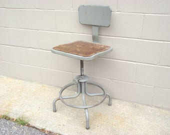 Industrial Metal Swivel Stool   Drafting Height   Tall Artist Stool  Adjustable With Back And Foot