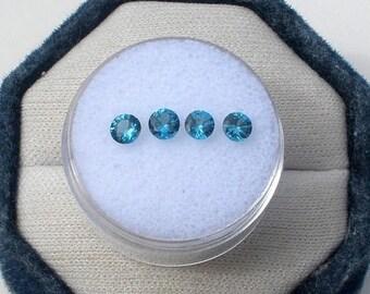 ON SALE 4 London Blue Topaz Round Gems 4mm each
