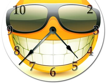 """Cool SMILEY FACE With SUNGLASSES Clock - Extra Large 15.5"""" to 16"""" Wall Clock - 2104-16"""