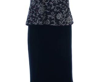 Vintage 90s Alex Black Silver Glitter Layered Stretch Maxi Dress UK 10 12 US 8 10