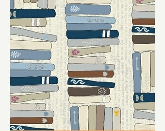 20 % off thru 7/4 LITERARY cotton print by the yard  book books library stacks  Windham Fabric 42703-1