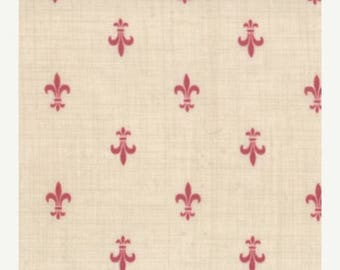 12% off thru July FRENCH GENERAL FAVORITES Moda by the half yard cotton quilt fabric Faded red fleur de lis on pearl cream 13605-21