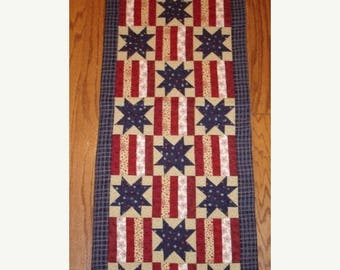 20 % off thru 8/20 INSTRUCTIONS ONLY -Stars and Stripes Patriotic quilted table runner pattern Summer June Year one