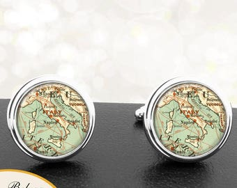 Antique Map Cufflinks Country of Italy Cuff Links for Groomsmen Groom Fiance Anniversary Wedding Fathers Dads Men