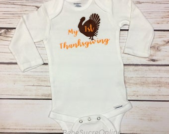 My 1st Thanksgiving Infant Bodysuit, Newborn, Graphic Tee, Holiday, Thanksgiving, Turkey, Gift Set