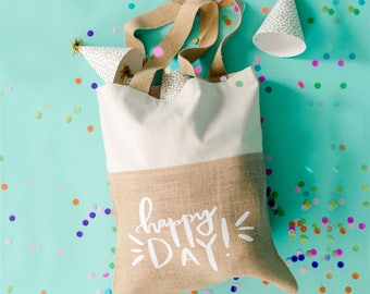 happy day tote | birthday tote | farmers market tote | birthday gift | gift for her