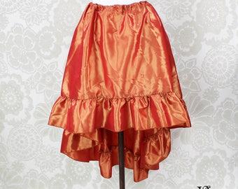 "Steampunk High Low Cecilia Skirt, Longer Length -- Fire Orange Taffeta -- Ready to Ship -- Best Fits Up To 48"" Waist"