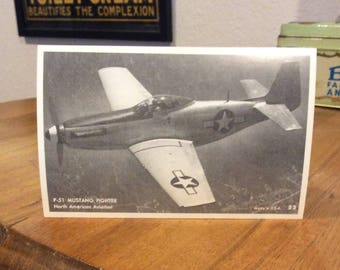 P51 Mustang Fighter North American Aviation exhibit postcard