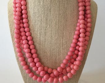 Pink Coral Chunky Statement Necklace