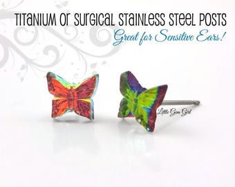 Tiny Butterfly Stud Earrings - 8mm Rainbow Iridescent Color Changing Butterfly Post Earrings Butterfly Earrings Titanium or Stainless Steel