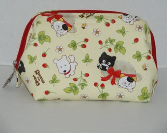 """Wire Frame Zipper Pouch With Pocket / Padded Cosmetic Bag Made with Japanese Cotton Oxford Fabric """"Tama and Friends  - Cream Yellow"""""""