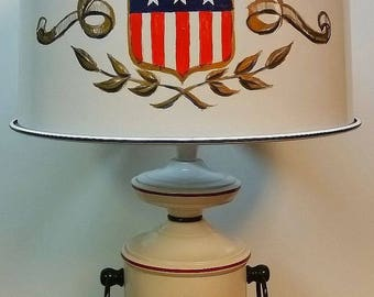 Mid Century American USA Hand Painted Toleware Table Lamp Red White Blue Unique