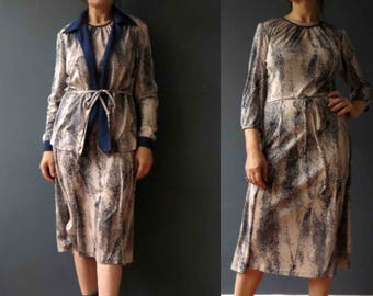 70s 80s Snakeskin Print Dress Jacket Stretch Knit Blue Taupe Small