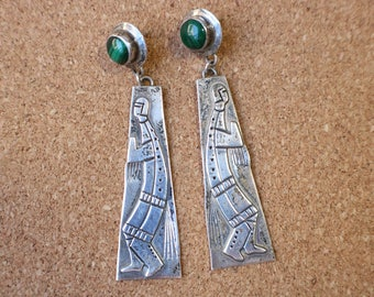 Figural Dangle EARRINGS / Vintage Southwest Jewelry / Long Sterling and Malichite Earrings
