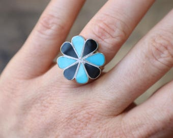Southwest Pinwheel Ring / Turquoise Inlay Jewelry / Size 5 1/2 Ring / Sterling