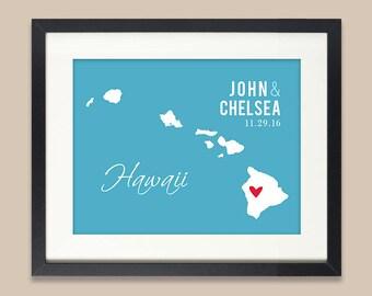 Personalized Hawaii Wedding Gift, Hawaii Map Print, Wedding Gift for Couple Newlyweds, Hawaiian Wedding, ANY State or City