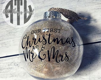 Our First Christmas As Mr. & Mrs. - Christmas Ornament - Custom Ornaments - Wedding Gift