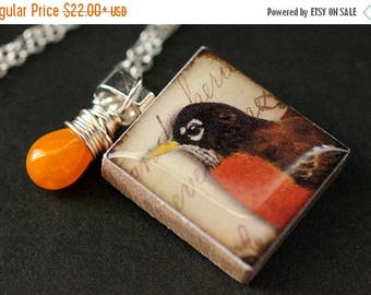 BACK to SCHOOL SALE Bird Necklace. Robin Necklace. Scrabble Tile Necklace. Charm Necklace with Orange Teardrop. Handmade Jewelry.