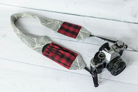 Padded Camera Strap with Pockets | Red Buffalo Plaid Pockets on Black and Cream Contour DSLR Strap