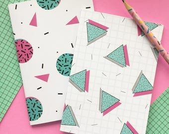 PACK 1: 1980's Style A6 Notebooks (Adorable Eighties Pattern Covers, Blank Inside, Eco-Friendly Recycled Paper)