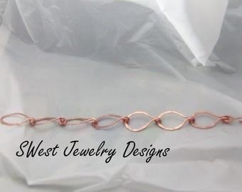Textured Teardrops Copper Link Bracelet