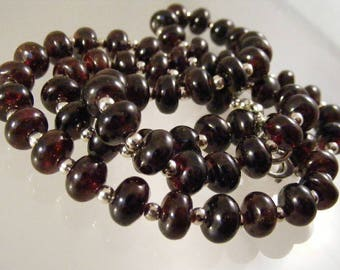 Deep Red Garnet and Sterling Silver Bead Necklace....  Lot 5647