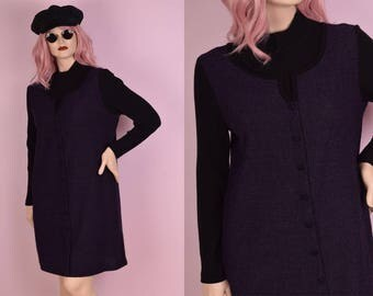 90s Black and Purple Knit Long Sleeve Dress/ Large/ 1990s