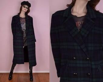 80s Plaid Wool Coat/ US 6/ 1980s/ Jacket