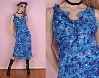 90s Abstract Floral Print Dress/ US 6/ 1990s/ Tank/ Sleeveless