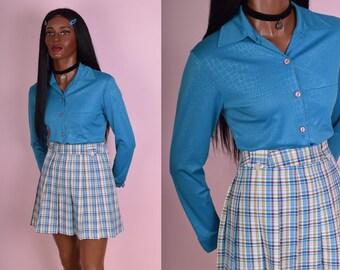 90s Blue Reptile Print Button Down Shirt/ Small/ 1990s