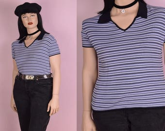 90s Blue and White Striped Shirt/ Large/ 1990s