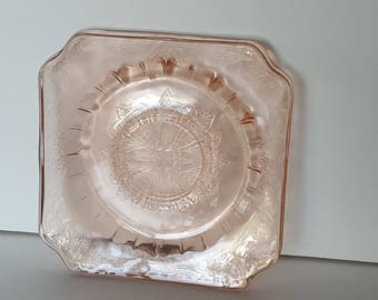 Jeanette Pink Depression Glass Saucers Adam Patter Vintage set of 2