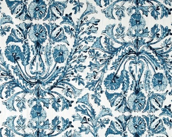 """Two  96""""x 50""""  Custom LINED Curtain Panels    - Lacefield Sofia Azure - Large Damask Floral Blue"""