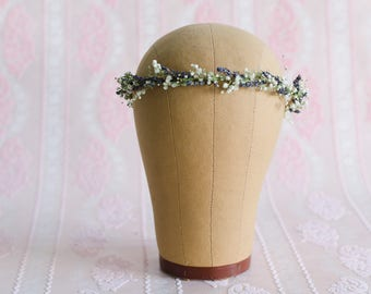 Babys Breath with Lavender Floral Hair Wreath - Real Dried Flower Crown for Wedding / Bride / Engagement Photos