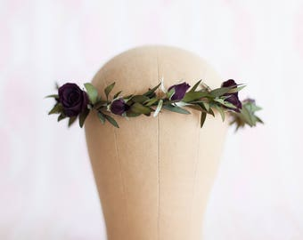 Hair Wreath with Dark Red Roses & Eucalyptus Leaves Crown / Halo Made With Real Dried Preserved Flowers