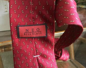 Bill Blass necktie NEO brick red silk textured dark blood red silk neck tie