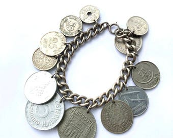 International Coins Charm Bracelet Chunky Fashion Link Jewelry Accessory