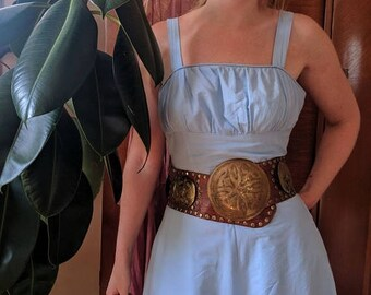 Summer Sale 70s Moroccan Belt 32 Inch waist to 36 inch waist Leather and Brass Boho Medium Large