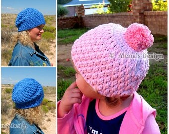 Crochet Hat Pattern 145 - Crochet Pattern Candy Crochet Hat from Baby to Adult - Toddler Boys Girls Children Teens Women Men - Winter Hat