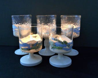 5 Sealife Votive Glasses Candle Set Shimmering White Map