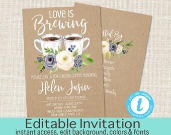 Bridal Shower Invitation, Bridal Tea Invitation, Editable Kraft Bridal Shower invitation, Love is brewing Invite, Templett, Instant Download