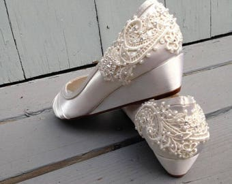 SALE - size 8.5 French Pleat Bridal Wedge Wedding Shoes